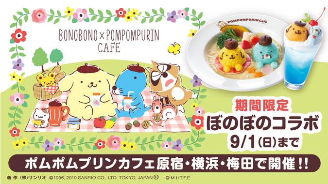 ぼのぼの × ポムポムプリンカフェ東京/横浜/梅田 7.11-9.1までコラボ開催!!